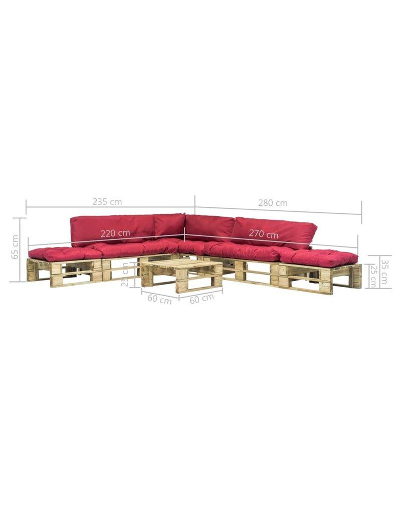 vidaXL 6-delige Loungeset pallet met rode kussens hout