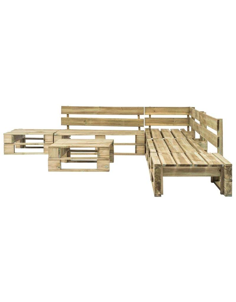 vidaXL 6-delige Loungeset pallet met zandkleurige kussens hout