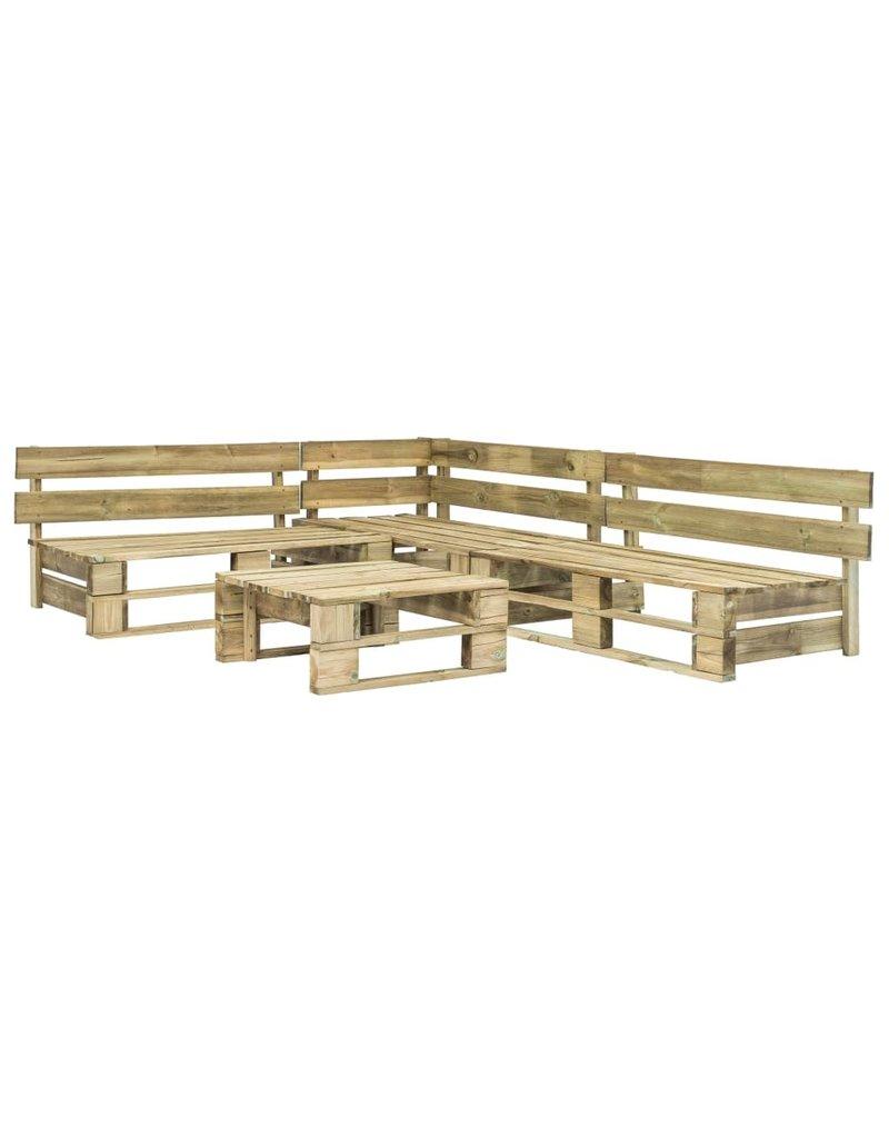 vidaXL 4-delige Loungeset pallet met zandkleurige kussens hout