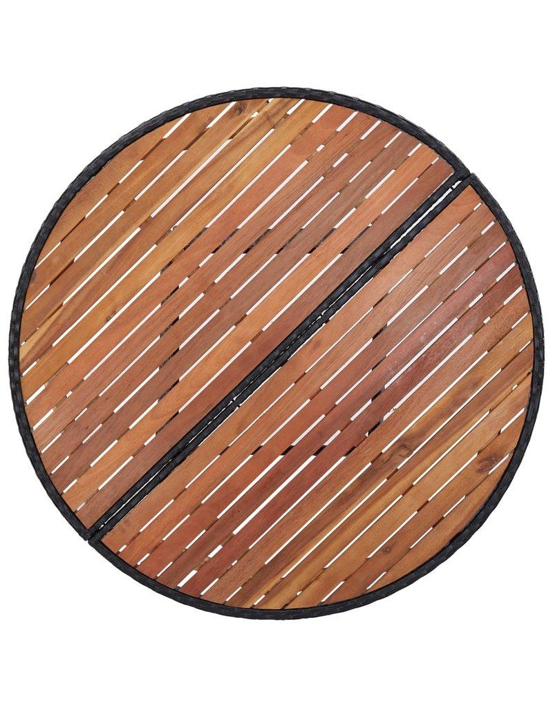 vidaXL 5-delige Tuinset poly rattan acaciahout zwart