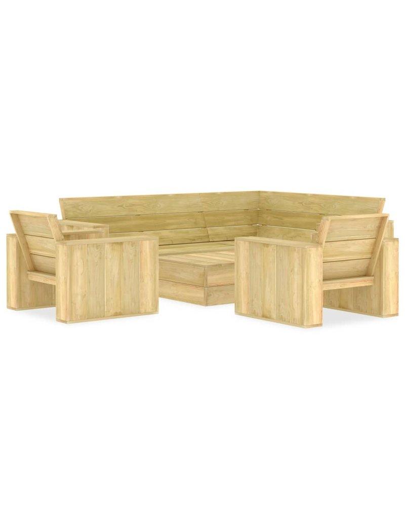vidaXL 4-delige Loungeset geïmpregneerd grenenhout