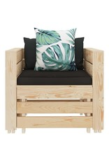 vidaXL 7-delige Loungeset met bloemenkussens pallet hout