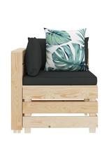 vidaXL 9-delige Loungeset met bloemenkussens pallet hout