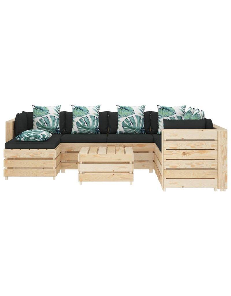 vidaXL 8-delige Loungeset met bloemenkussens pallet hout