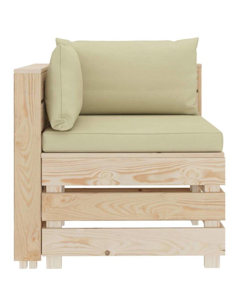 vidaXL 4-delige Loungeset met crèmekleurige kussens pallet hout