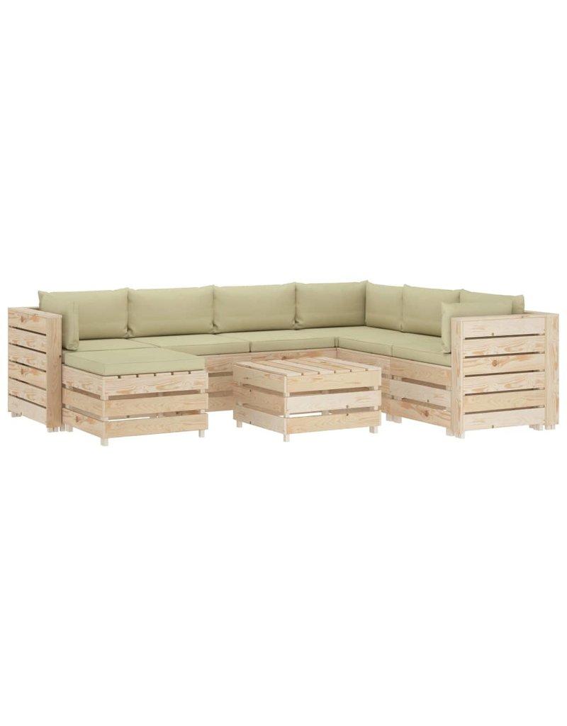 vidaXL 8-delige Loungeset met crèmekleurige kussens pallet hout