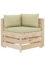 vidaXL 6-delige Loungeset met crèmekleurige kussens pallet hout