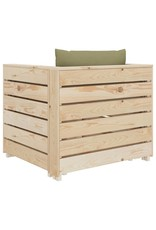 vidaXL 7-delige Loungeset met beigekleurige kussens pallet hout