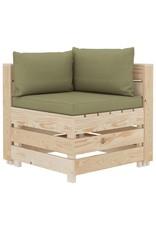 vidaXL 8-delige Loungeset met beige kussens pallet hout