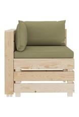 vidaXL 7-delige Loungeset met beige kussens pallet hout