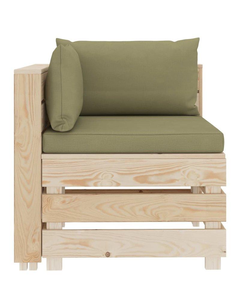 vidaXL 6-delige Loungeset met beigekleurige kussens pallet hout