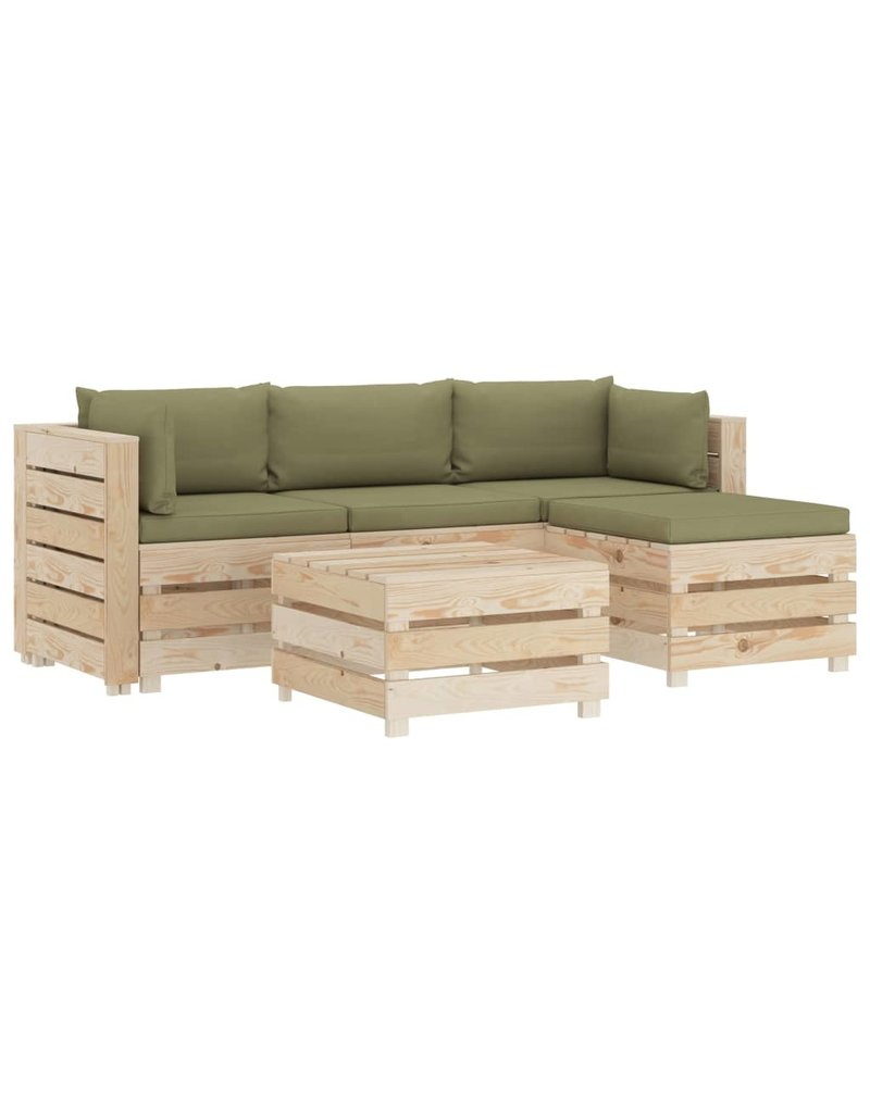 vidaXL 5-delige Loungeset met beige kussens pallet hout