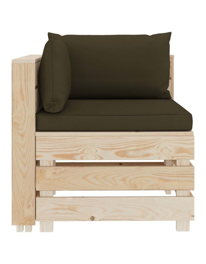 vidaXL 8-delige Loungeset met taupekleurige kussens pallet hout