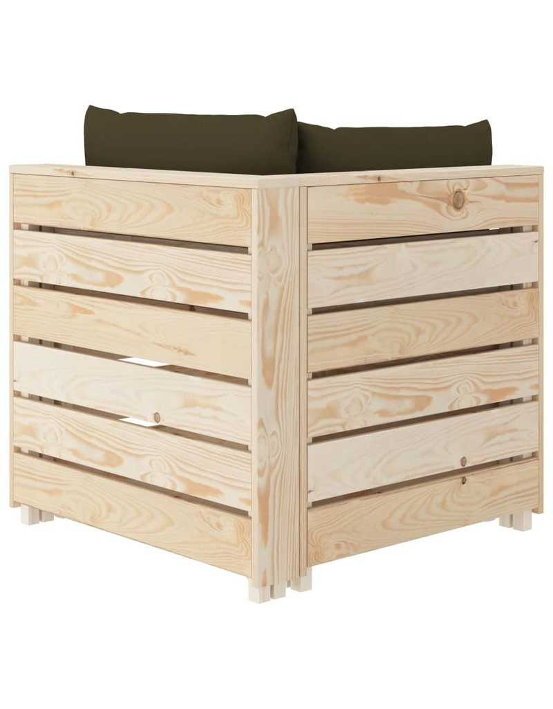 vidaXL 6-delige Loungeset met taupekleurige kussens pallet hout