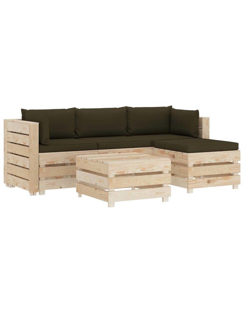 vidaXL 5-delige Loungeset met taupekleurige kussens pallet hout
