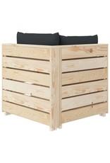 vidaXL 7-delige Loungeset met antracietkleurige kussens pallet hout