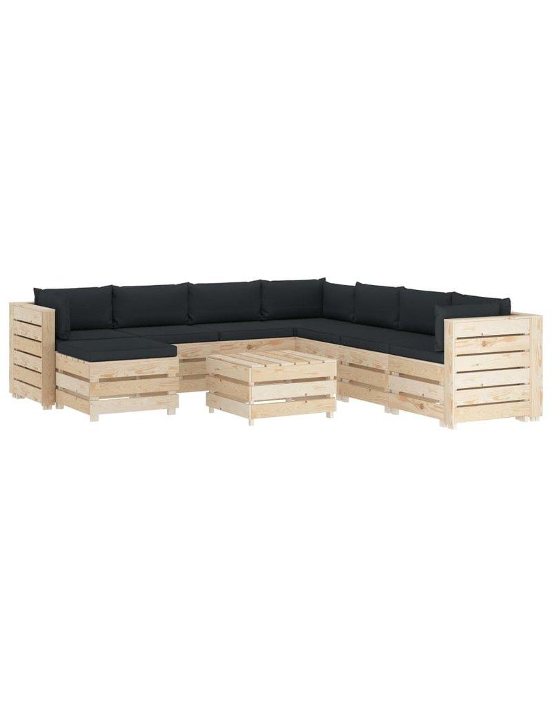 vidaXL 9-delige Loungeset met antracietkleurige kussens pallet hout