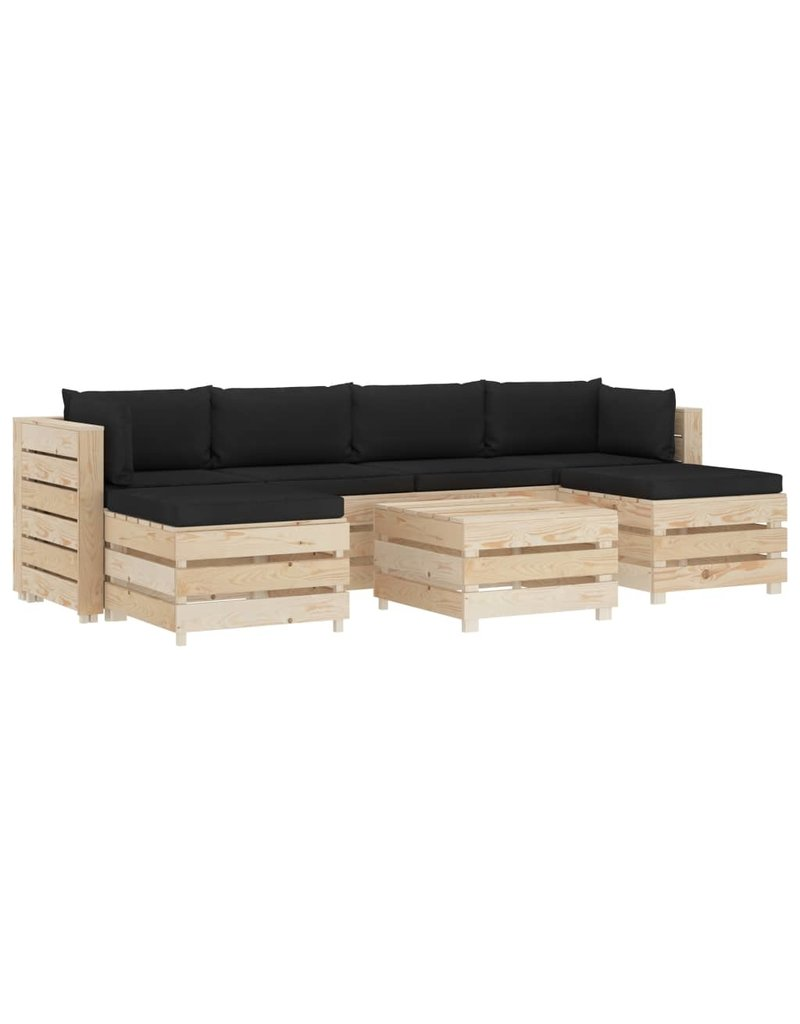 vidaXL 7-delige Loungeset met zwarte kussens pallet hout