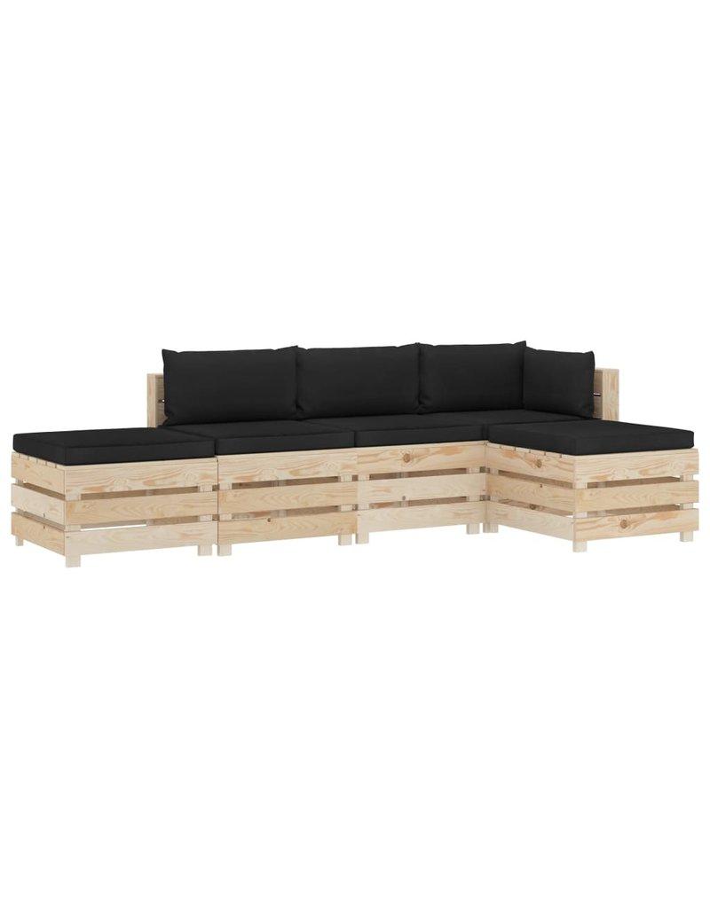 vidaXL 5-delige Loungeset met zwarte kussens pallet hout