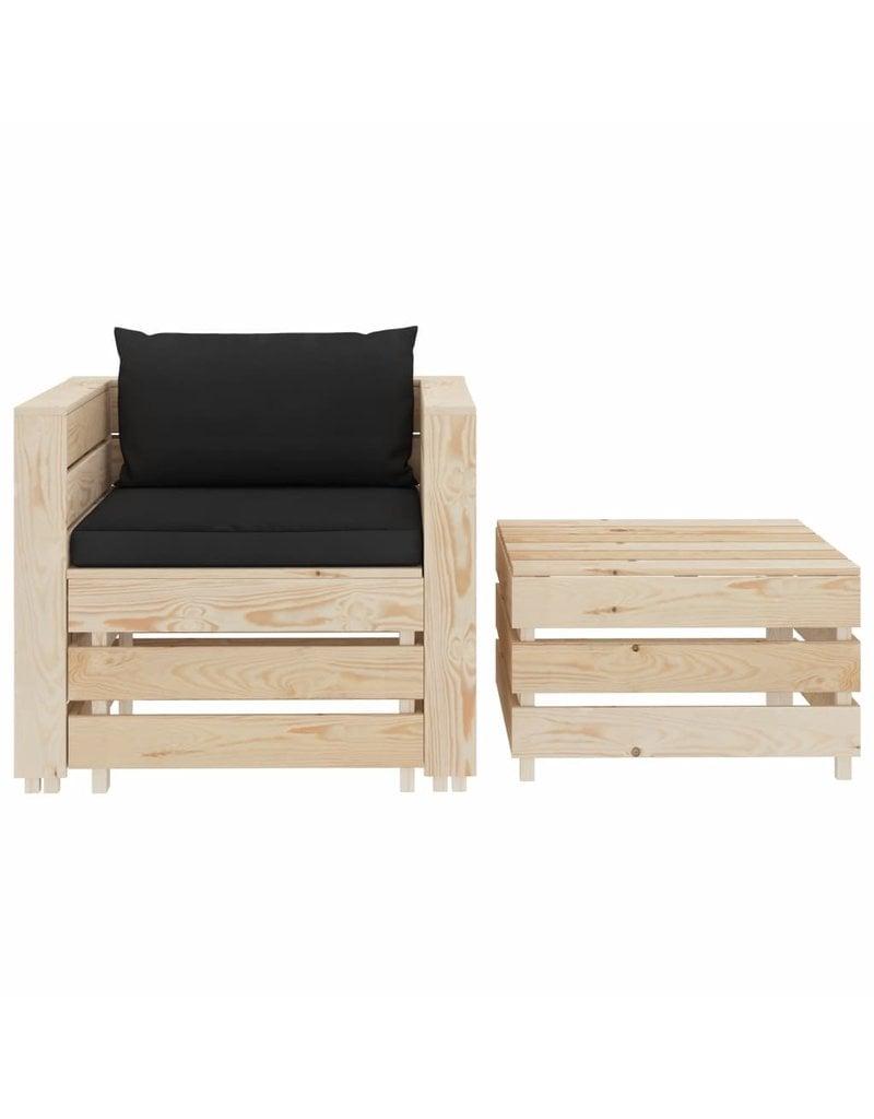 vidaXL 2-delige Loungeset met zwarte kussens hout