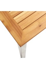 vidaXL 9-delige Eethoek massief acaciahout en roestvrij staal