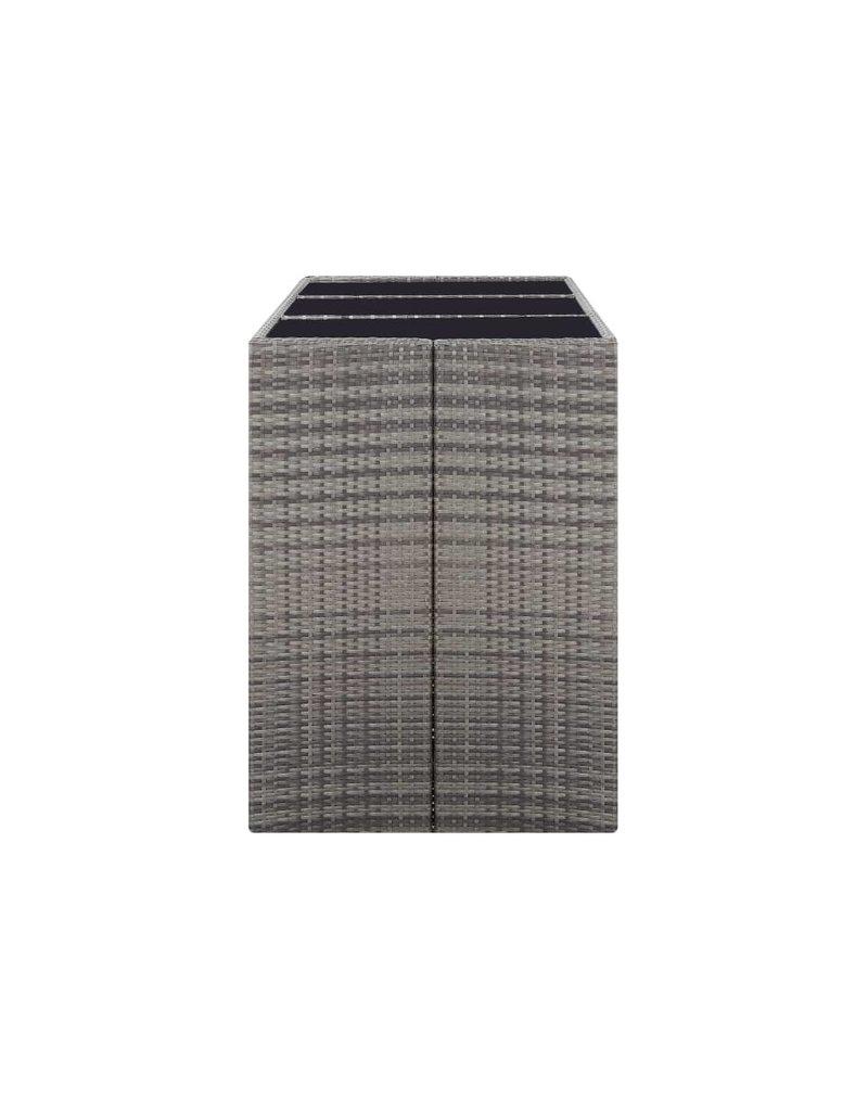 vidaXL 7-delige Tuinbarset met kussens poly rattan grijs