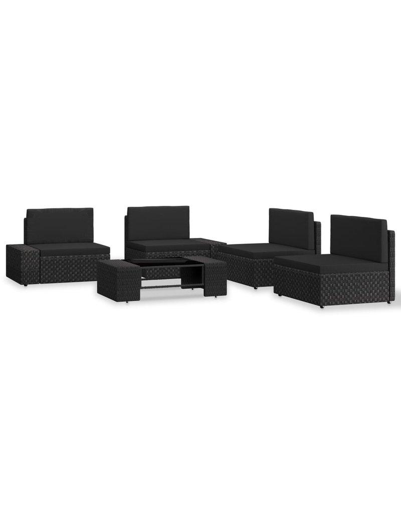 vidaXL 5-delige Loungeset poly rattan zwart