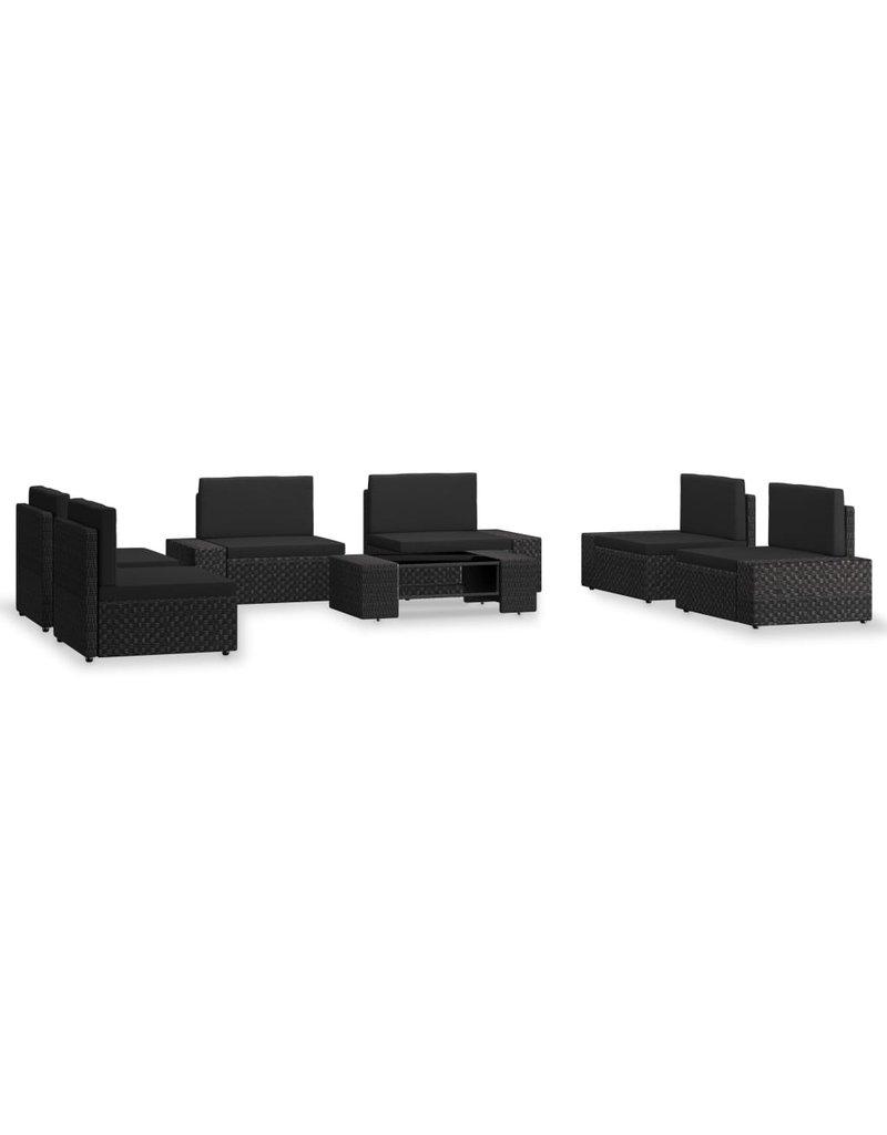 vidaXL 7-delige Loungeset poly rattan zwart