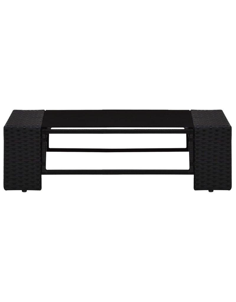 vidaXL 4-delige Loungeset poly rattan zwart