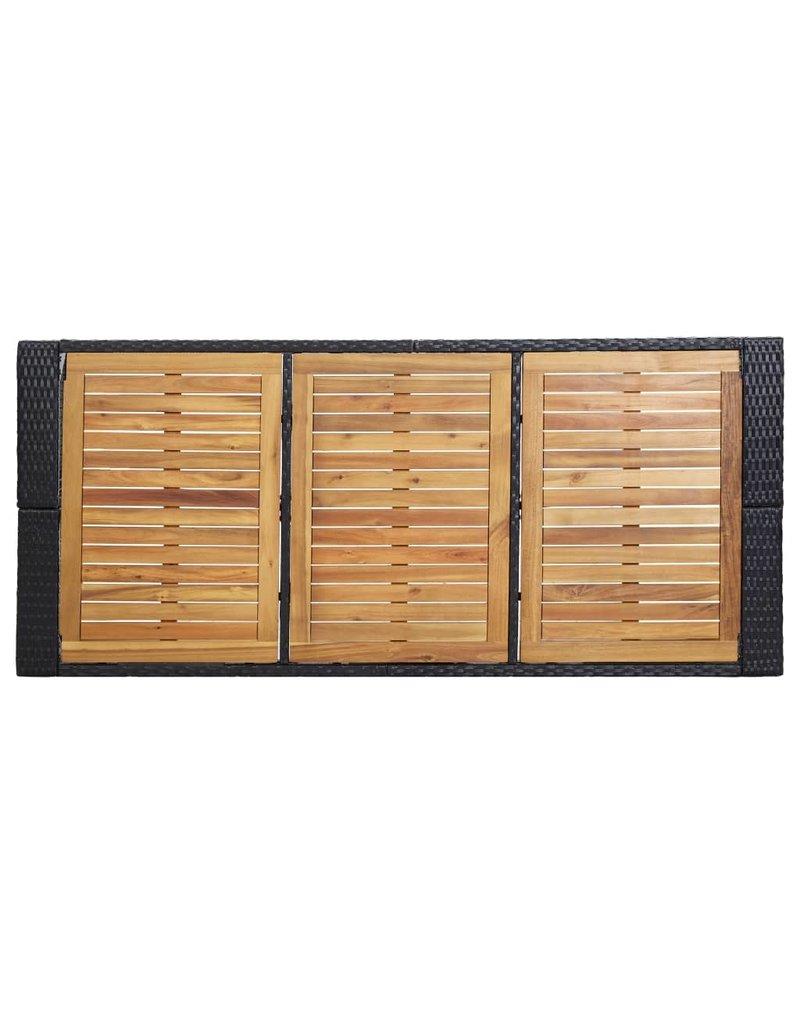 vidaXL 7-delige Tuinbarset met kussens poly rattan zwart