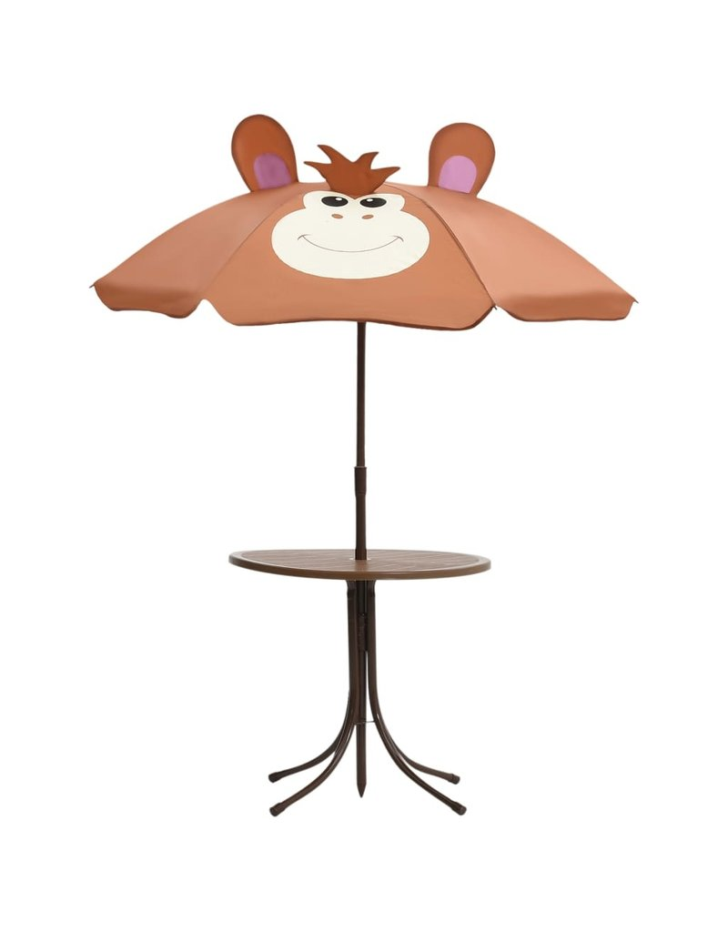 vidaXL 3-delige Bistroset voor kinderen met parasol bruin
