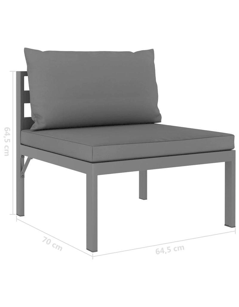 vidaXL 3-delige Loungeset met kussens aluminium antraciet