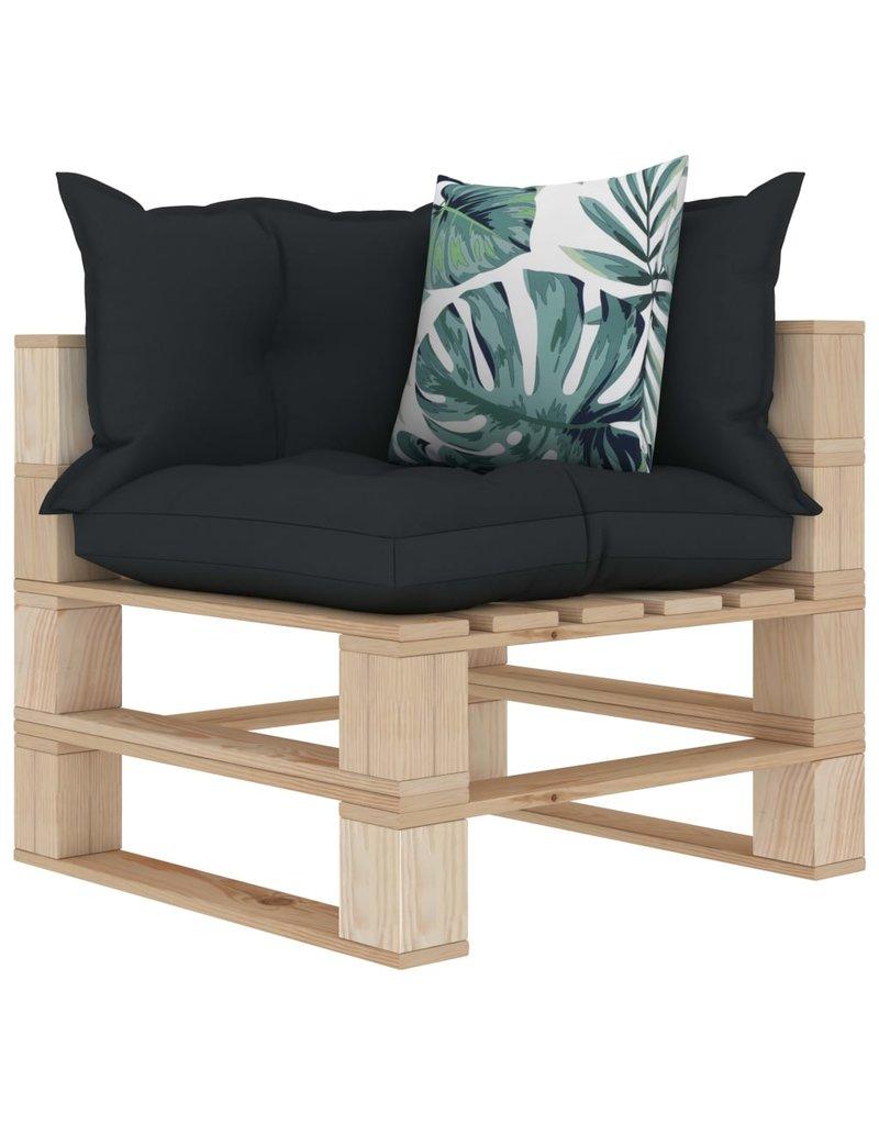 vidaXL 7-delige Loungeset met antraciet en bloemenkussens pallet hout