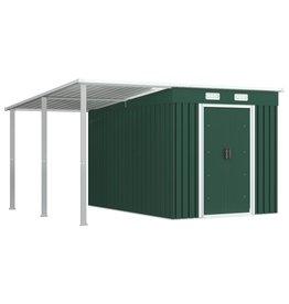 vidaXL Tuinschuur met verlengd dak 335x278x184 cm staal groen