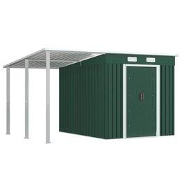 vidaXL Tuinschuur met verlengd dak 335x236x184 cm staal groen