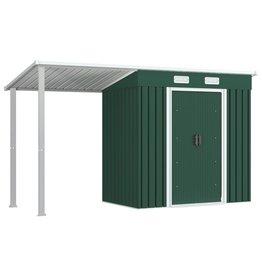 vidaXL Tuinschuur met verlengd dak 335x121x184 cm staal groen