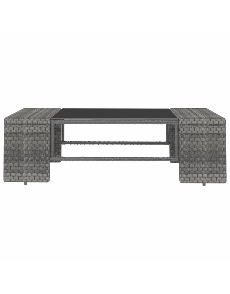vidaXL 10-delige Loungeset poly rattan grijs