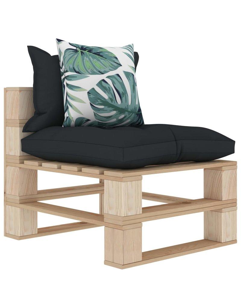 vidaXL 9-delige Loungeset met antraciet en bloemenkussens pallet hout