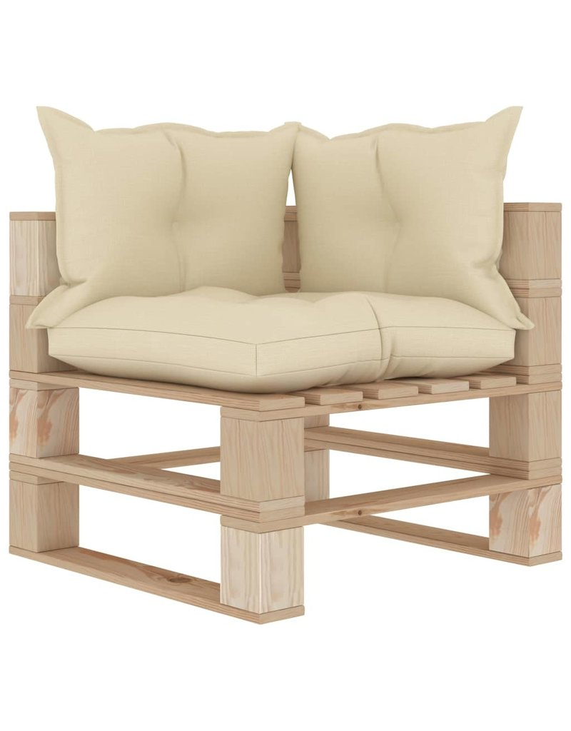 vidaXL 7-delige Loungeset met crèmekleurige kussens pallet hout
