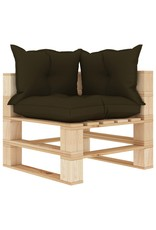 vidaXL 7-delige Loungeset met taupekleurige kussens pallet hout