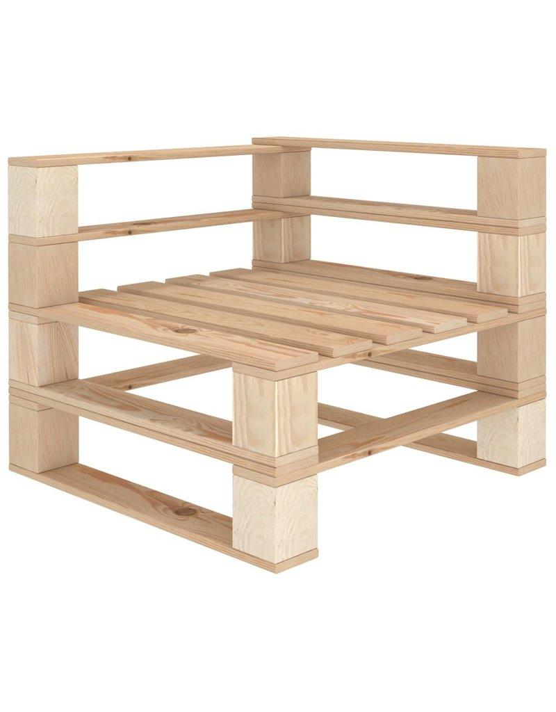 vidaXL 4-delige Loungeset met taupekleurige kussens pallet hout