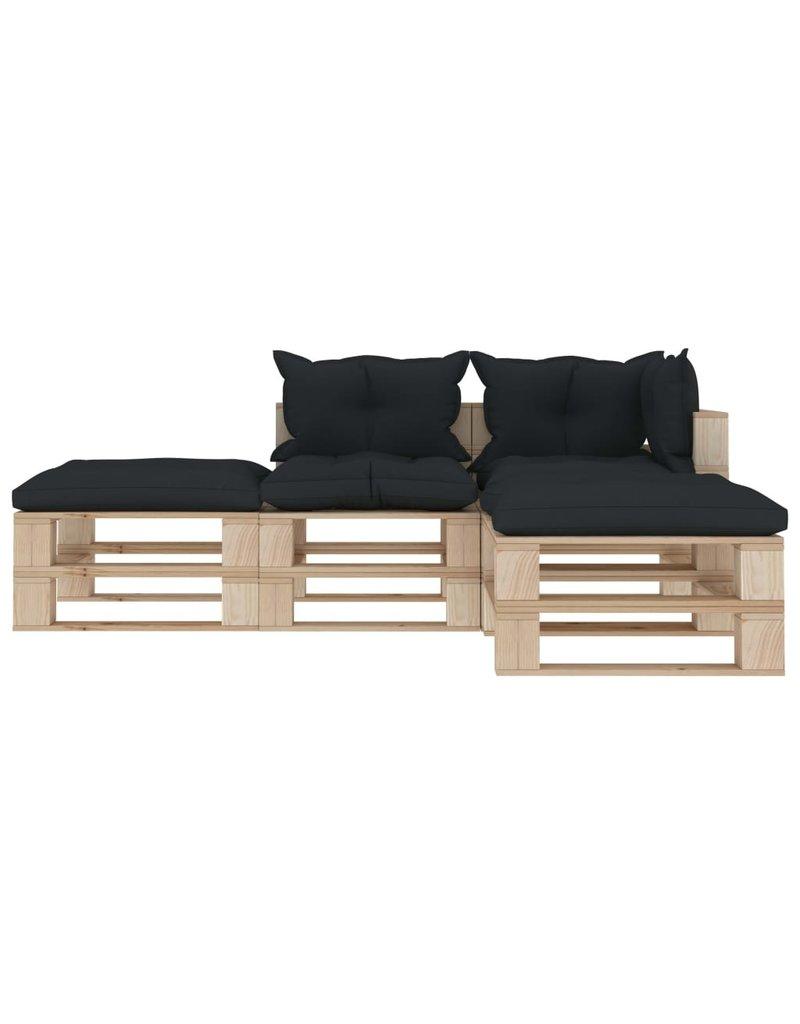 vidaXL 4-delige Loungeset met antracietkleurige kussens pallet hout