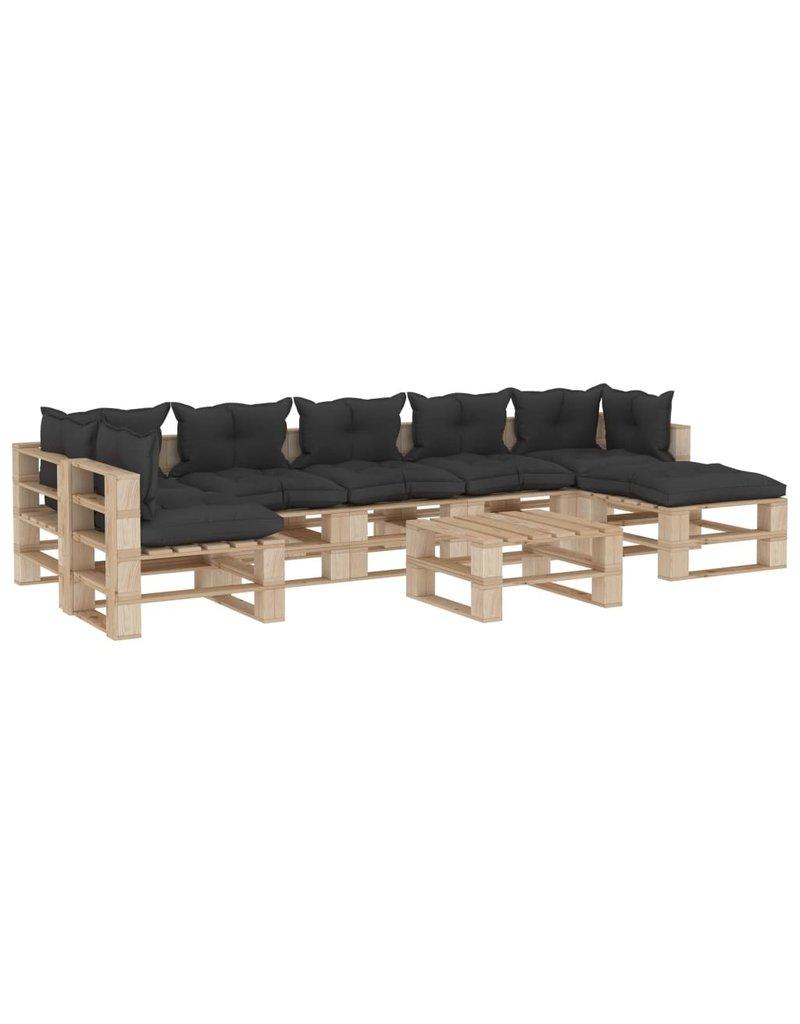 vidaXL 8-delige Loungeset met zwarte kussens pallet hout