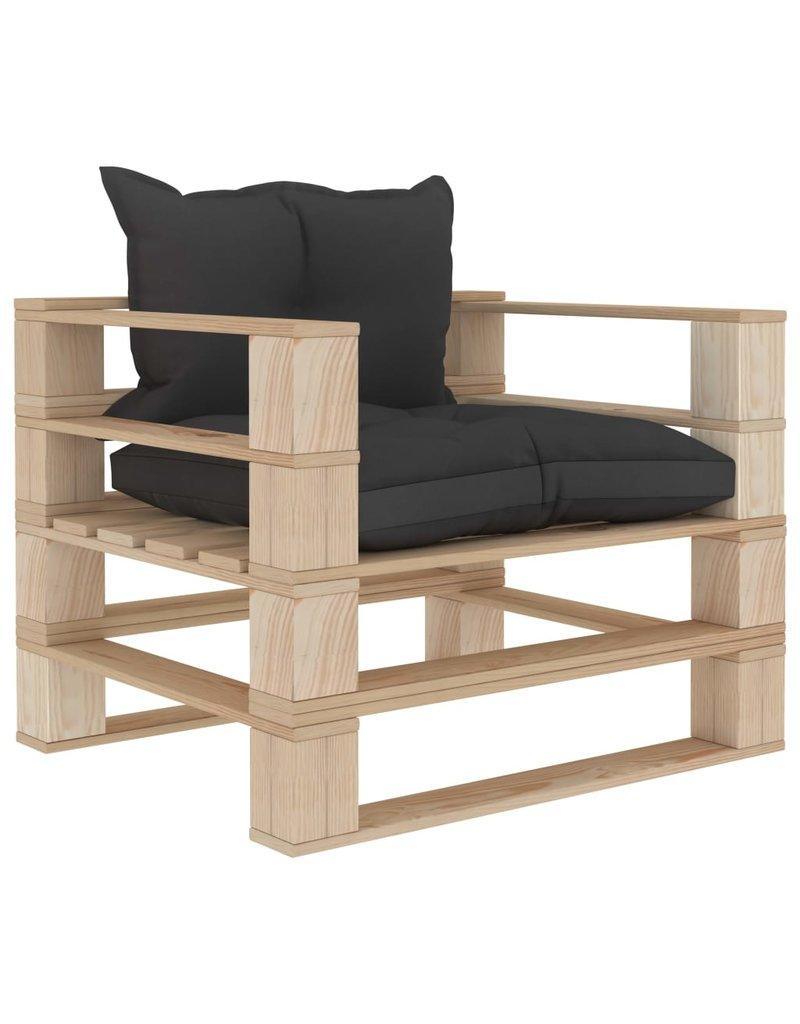 vidaXL 6-delige Loungeset met zwarte kussens pallet hout