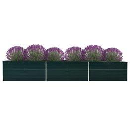vidaXL Plantenbak 480x80x77 cm gegalvaniseerd staal groen