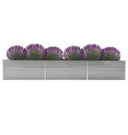 vidaXL Plantenbak 480x80x77 cm gegalvaniseerd staal grijs