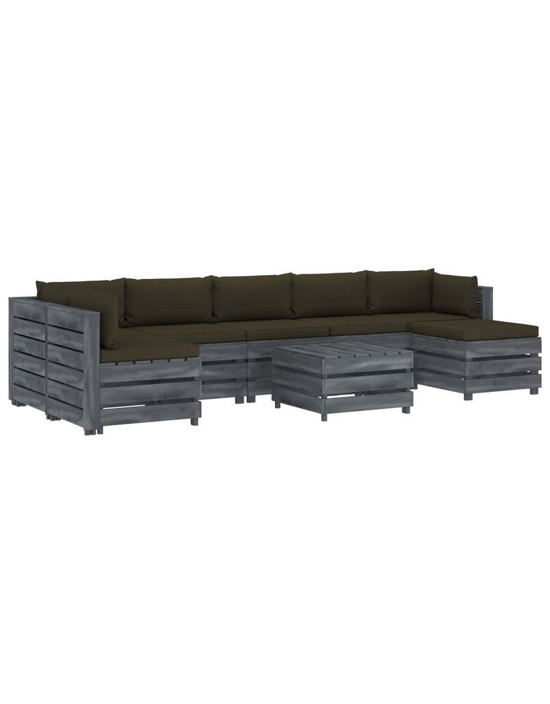 8-delige Loungeset met taupekleurige kussens pallet hout