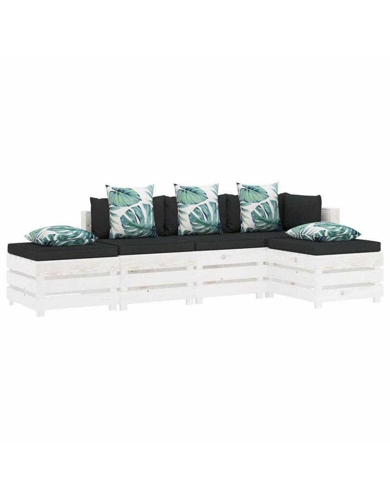 5-delige Loungeset met bloemenkussens pallet hout
