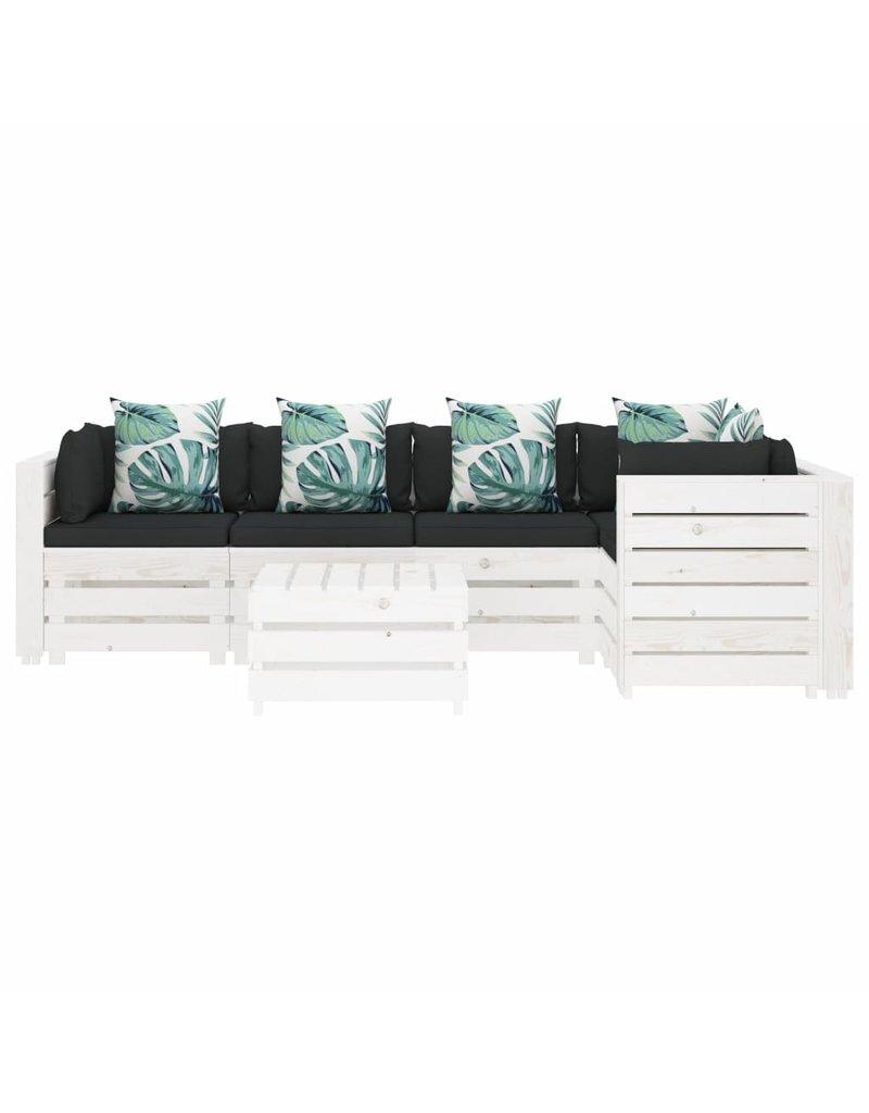 6-delige Loungeset met bloemenkussens pallet hout