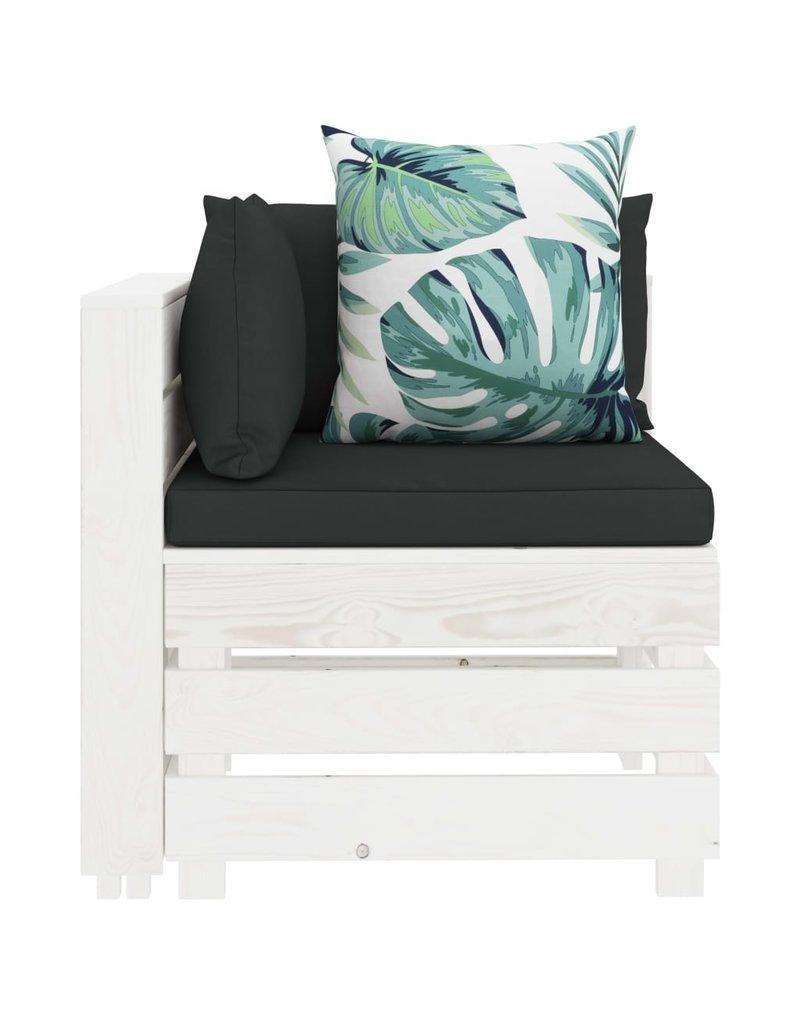 8-delige Loungeset met bloemenkussens pallet hout